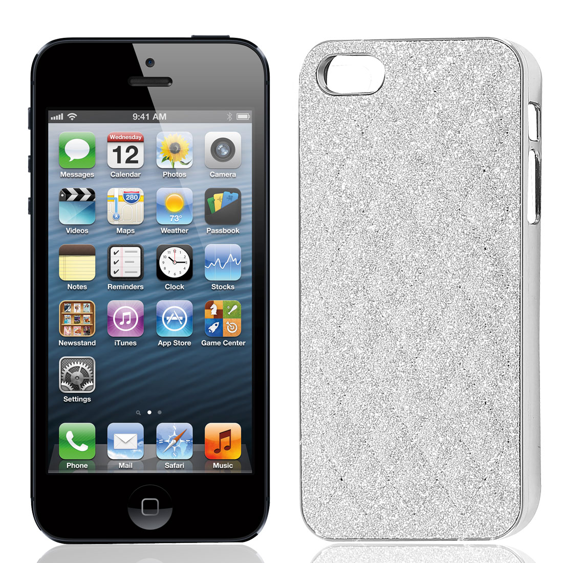 Silver Tone Glitter Powder Argyle Pattern Hard Back Case Cover for iPhone 5 5G