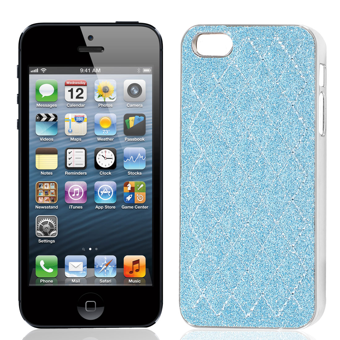 Pale Blue Powder Rhombus Print Hard Back Case Cover for Apple iPhone 5 5G 5th