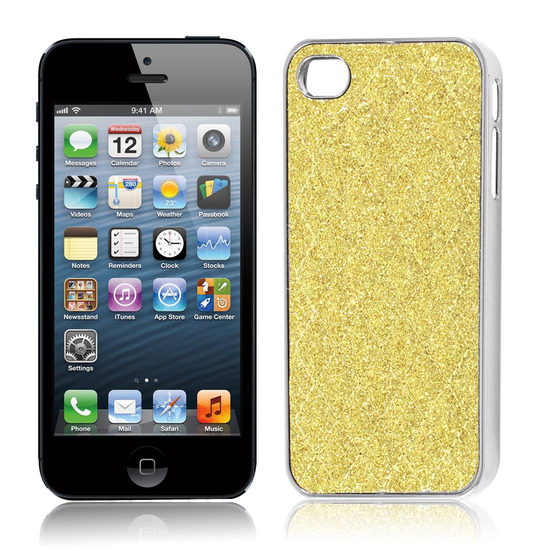 Yellow Powder Rhombus Print Hard Back Case Cover for Apple iPhone 4 4G 4S 4GS 4th