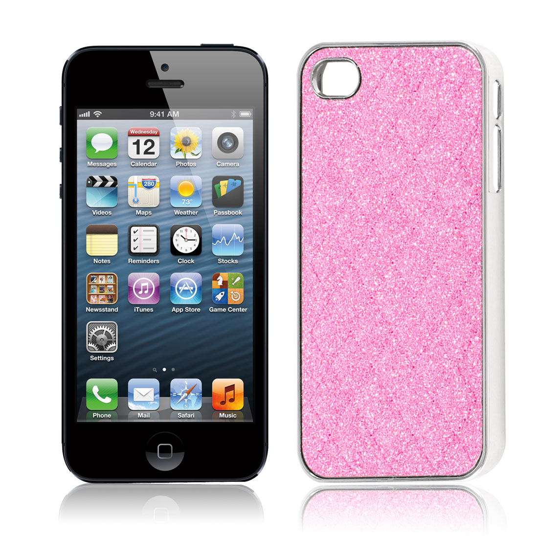 Pink Glitter Powder Argyle Pattern Hard Back Case Cover for iPhone 5 5G 5S