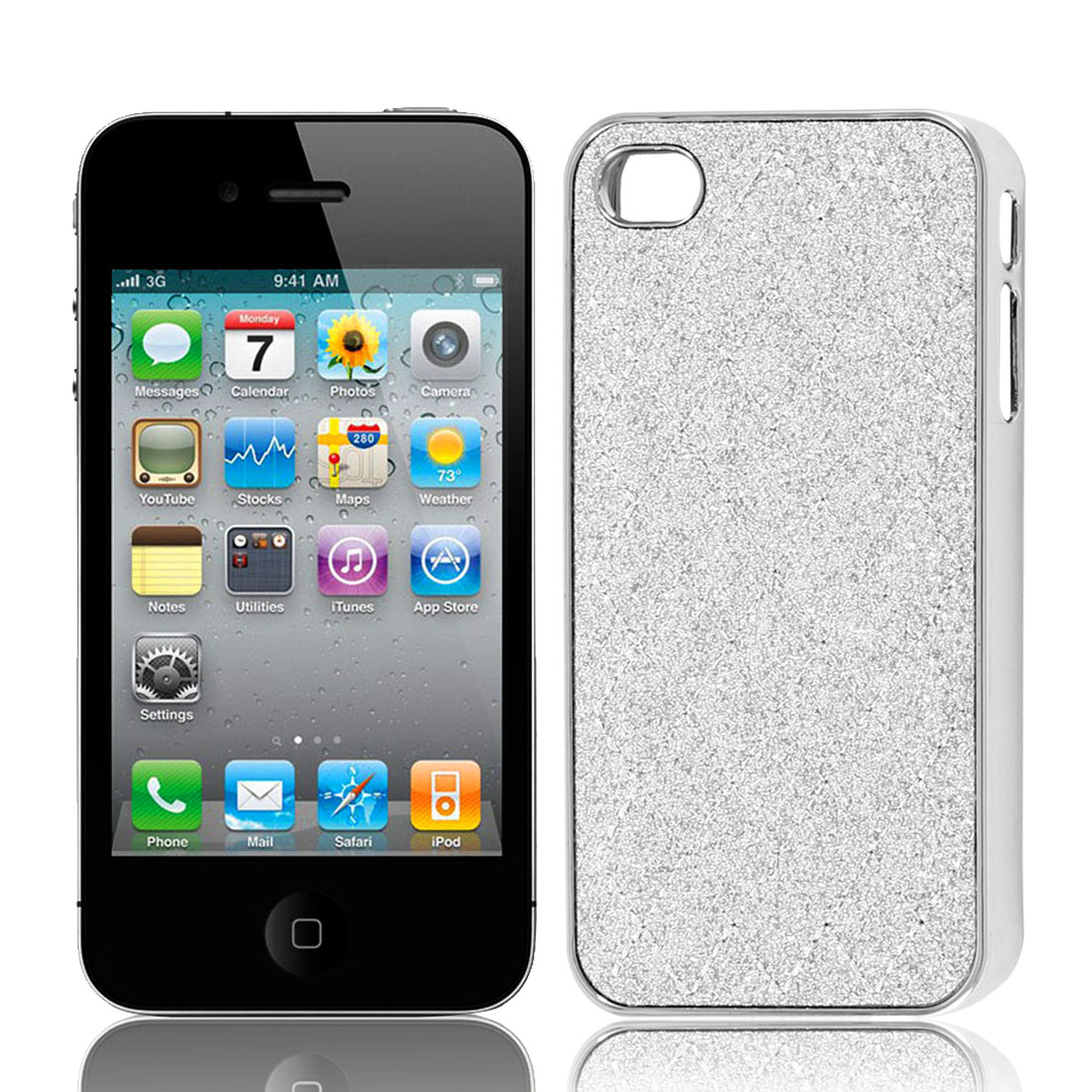 Silver Tone Glitter Powder Argyle Pattern Hard Back Case Cover for iPhone 4 4G 4S
