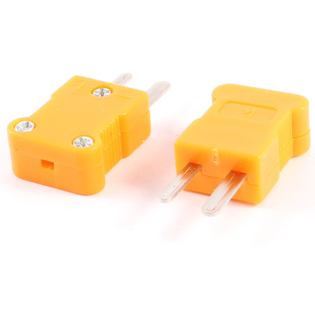 Orange Plastic Housing Male Thermocouple Plug K Type 2 Pcs