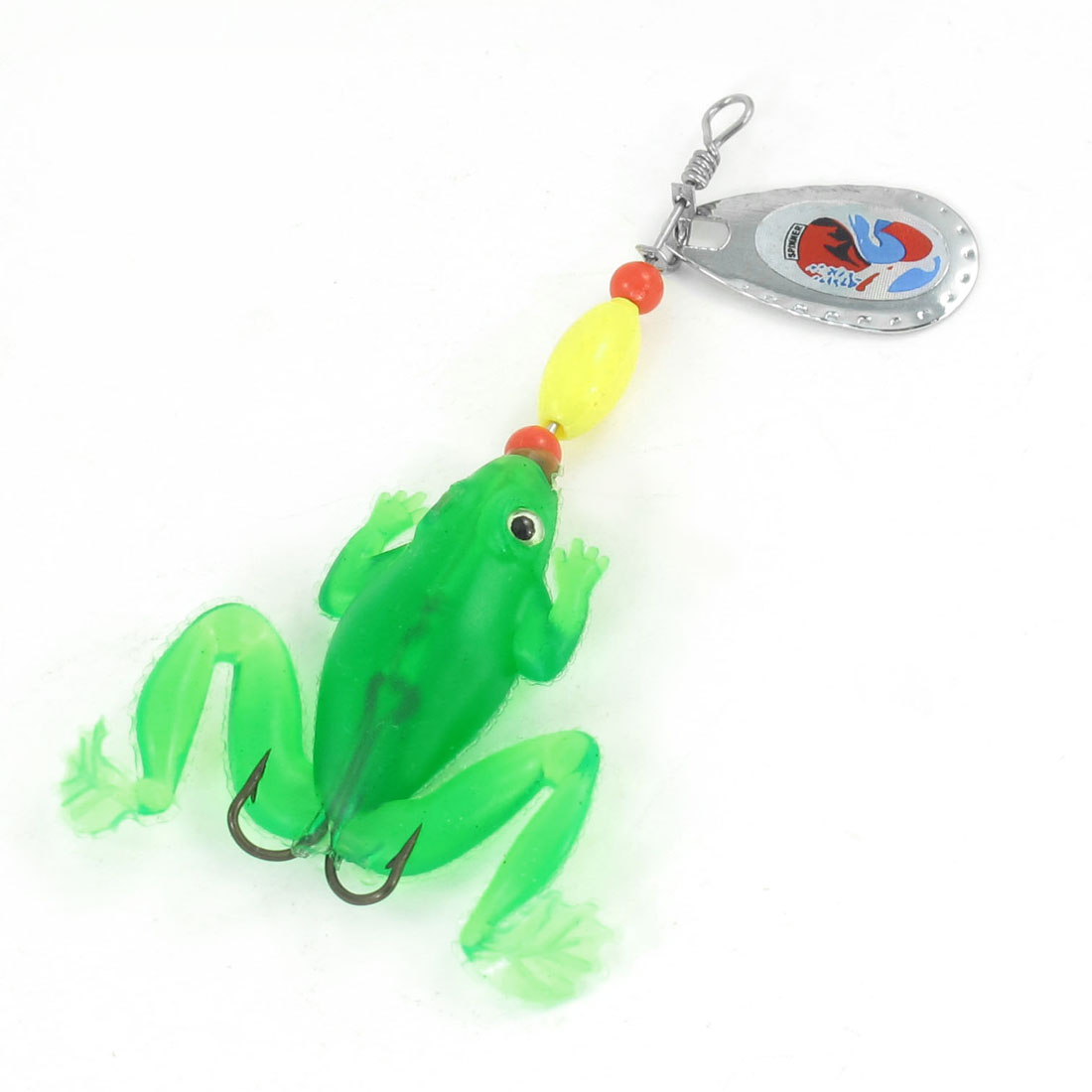 Green Silicone Frog Design Fish Lure Bait Fishing Hook