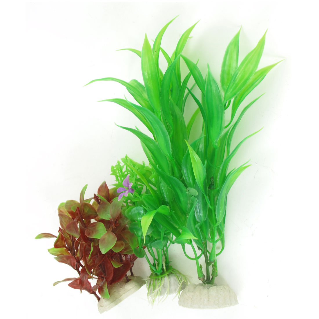 3 Pcs Green Burgundy Emulational Fish Tank Aquarium Grasses Decoration
