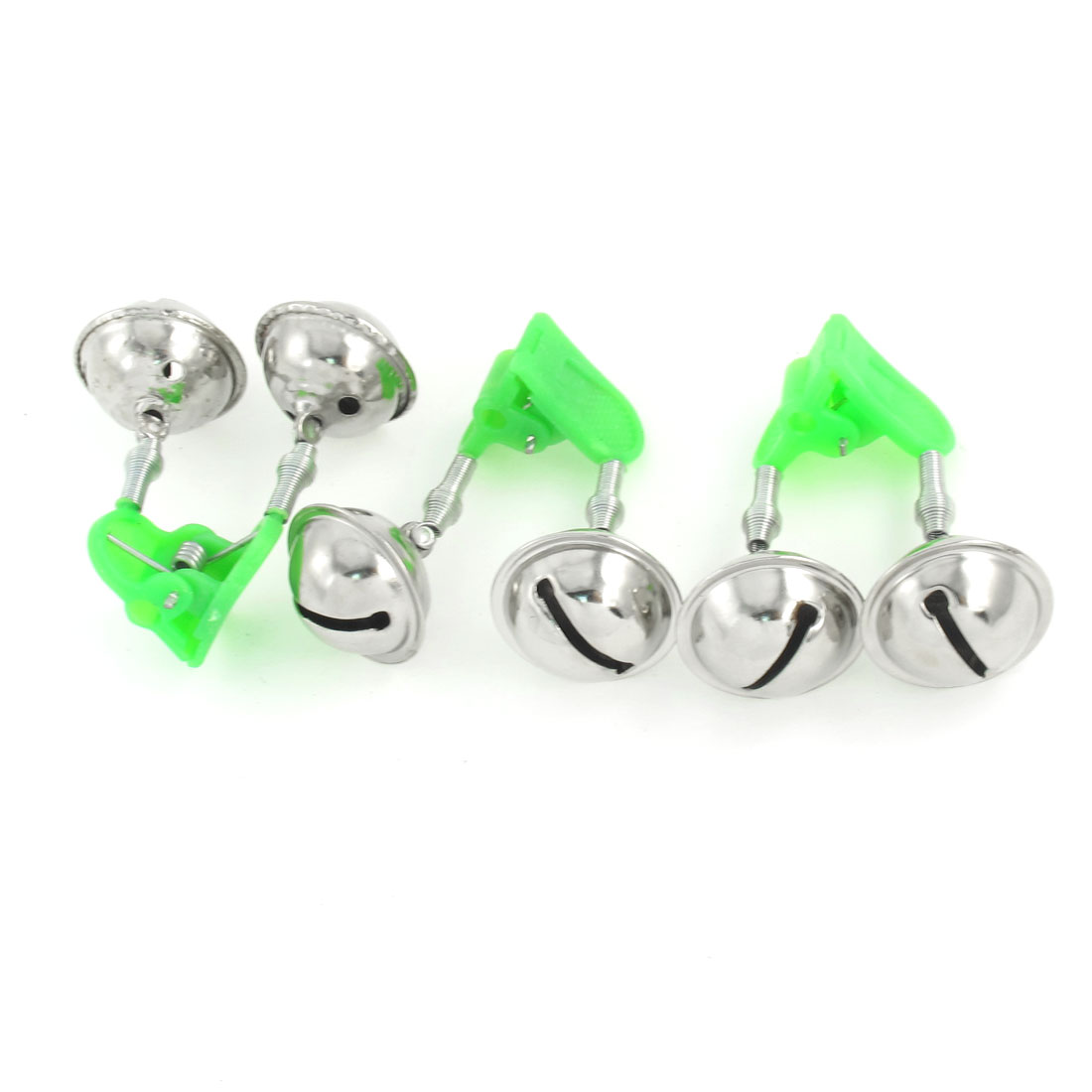 3 Pcs Green Plastic Clip Double Rings Fishing Alarm Bells