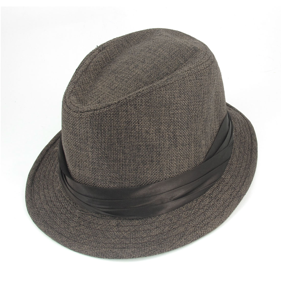 Ribbon Decor Coffee Color Castor Fedora Trilby Hat for Men Lady