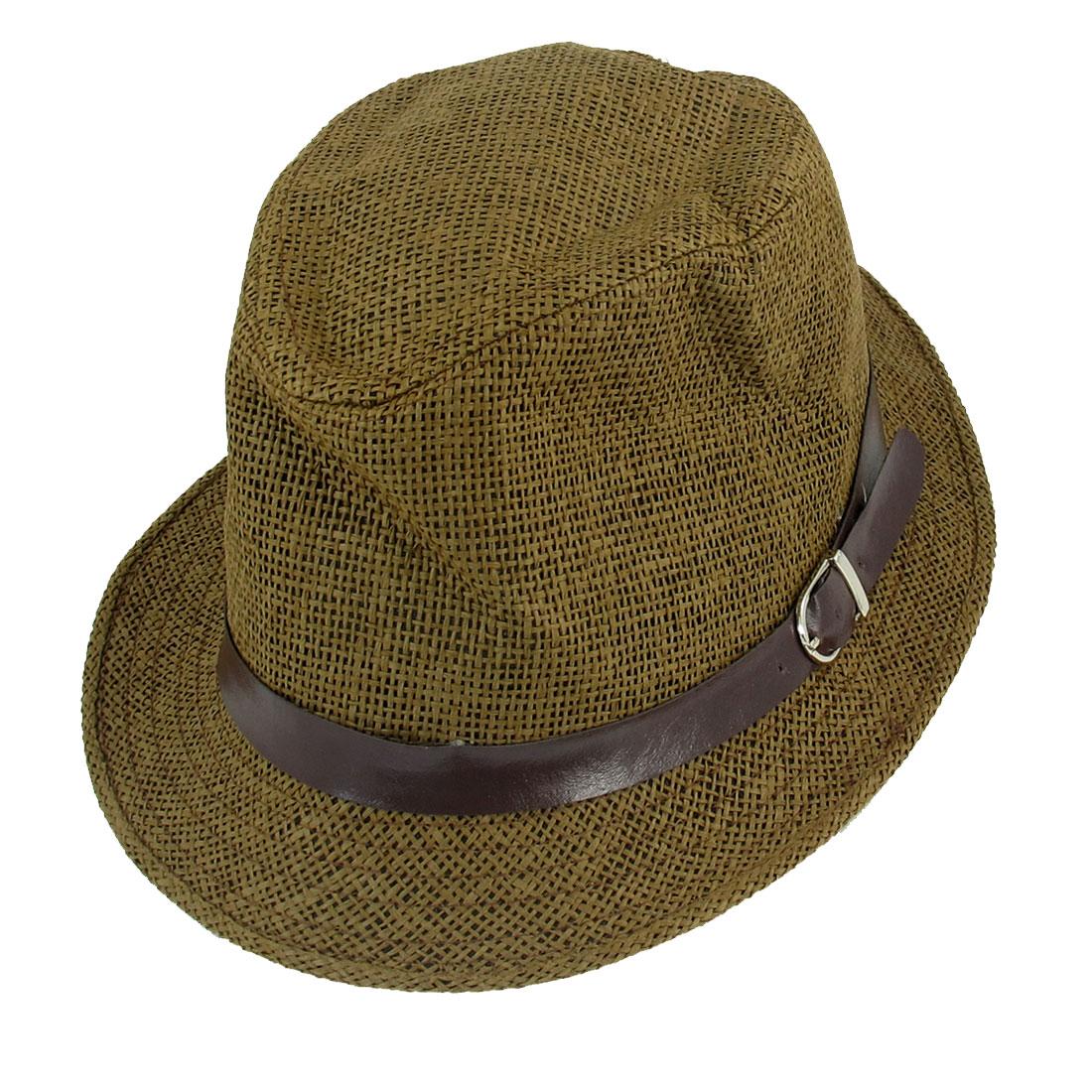 Band Decor Khaki Straw Braid Fedora Trilby Hat for Men Women