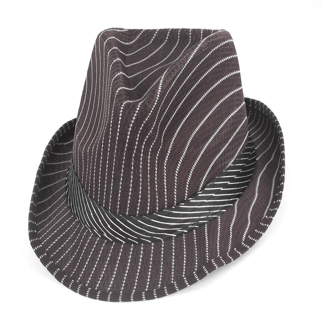 Woman White Strips Pattern Ribbon Decor Cloche Bucket Hat Cap Chocolate Color