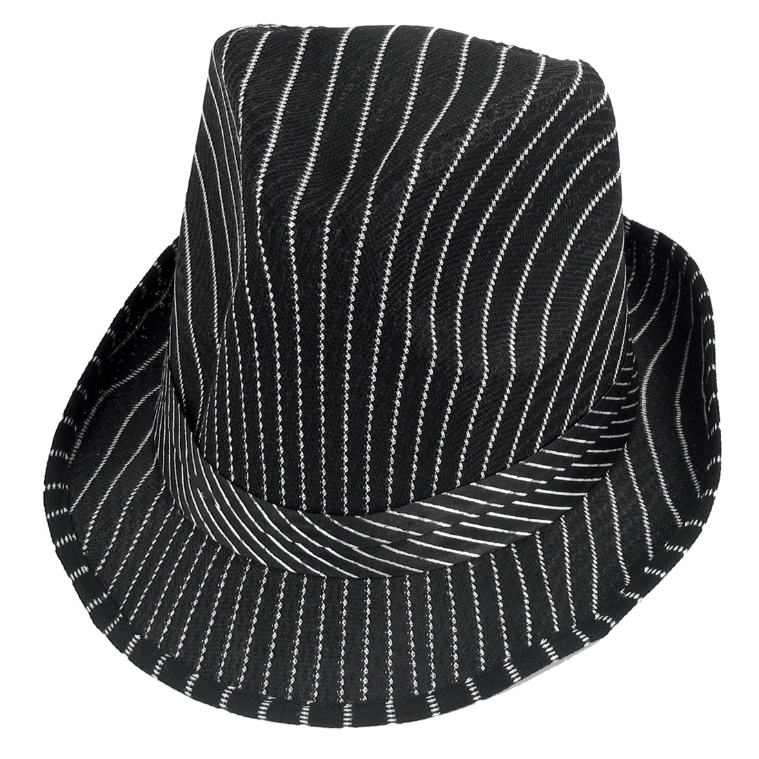 White Strips Print Band Detail Cloche Bucket Hat Black for Ladies