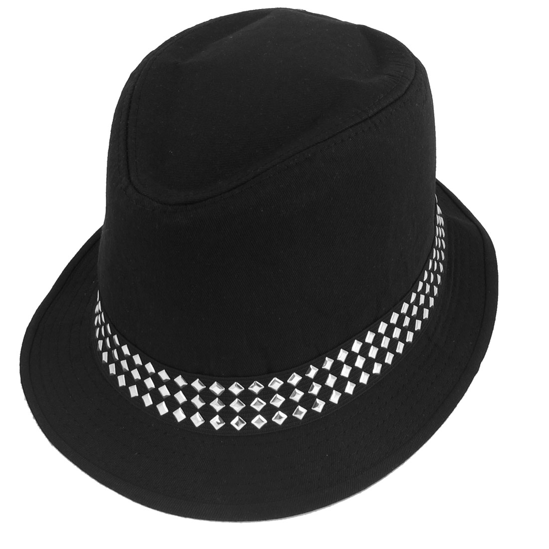 Ladies Metal Stud Decor Black Fabric Fedora Trilby Hat