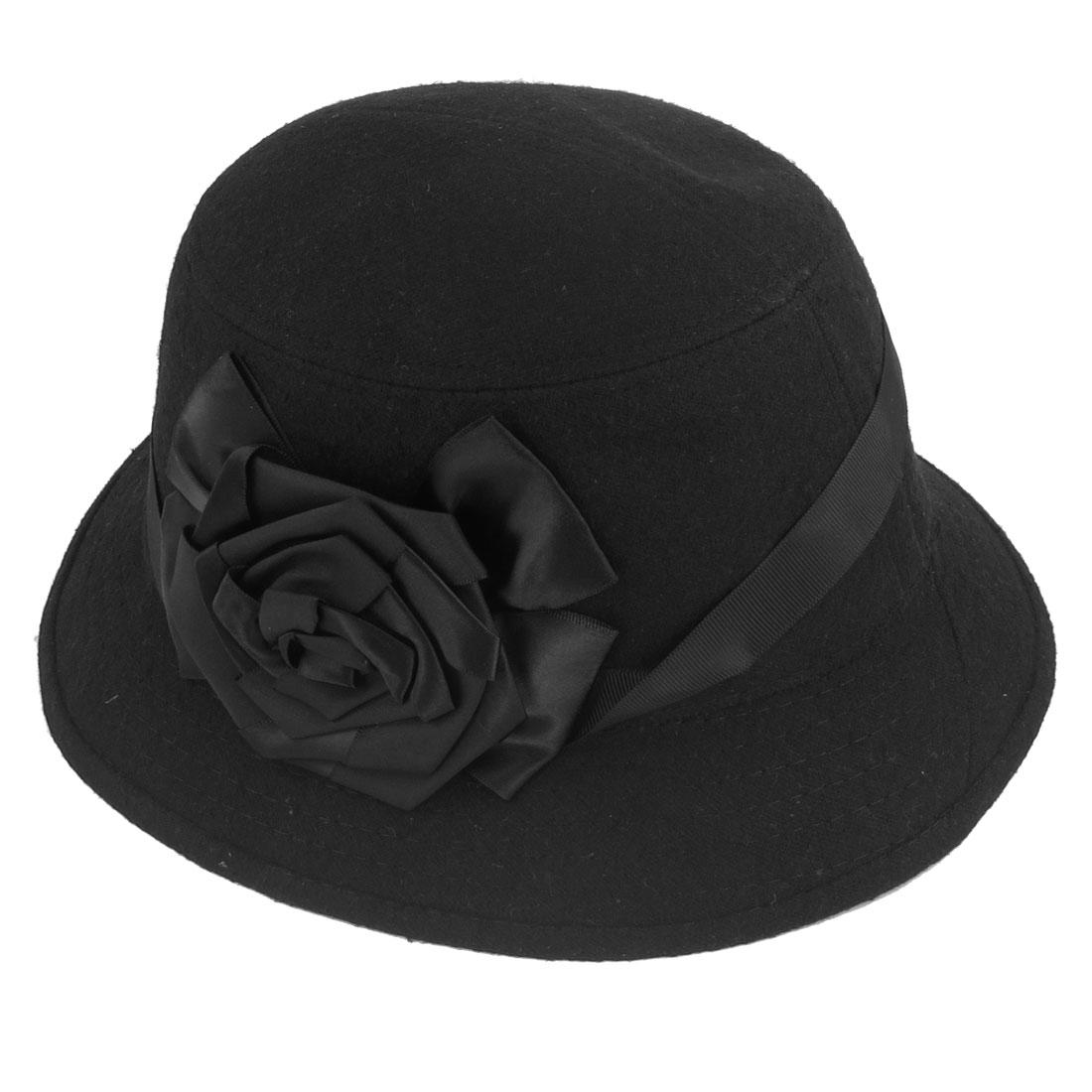 Flower Decor Black Fleece Cloche Bucket Hat for Ladies