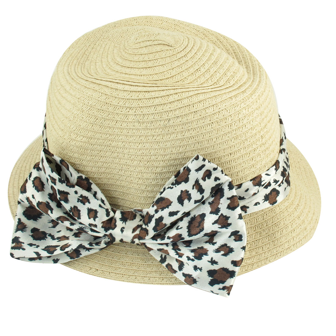 Summer Outdoor Leopard Print Ribbon Decor Cloche Hat for Ladies