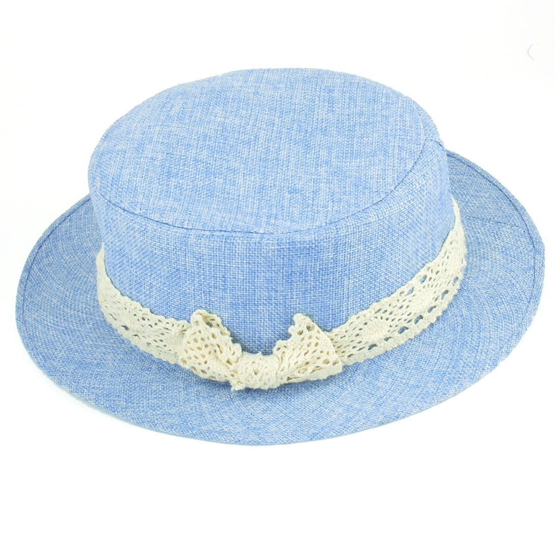 Summer Beach Bowknot Detail Flat Top Pale Blue Fedora Hat for Ladies