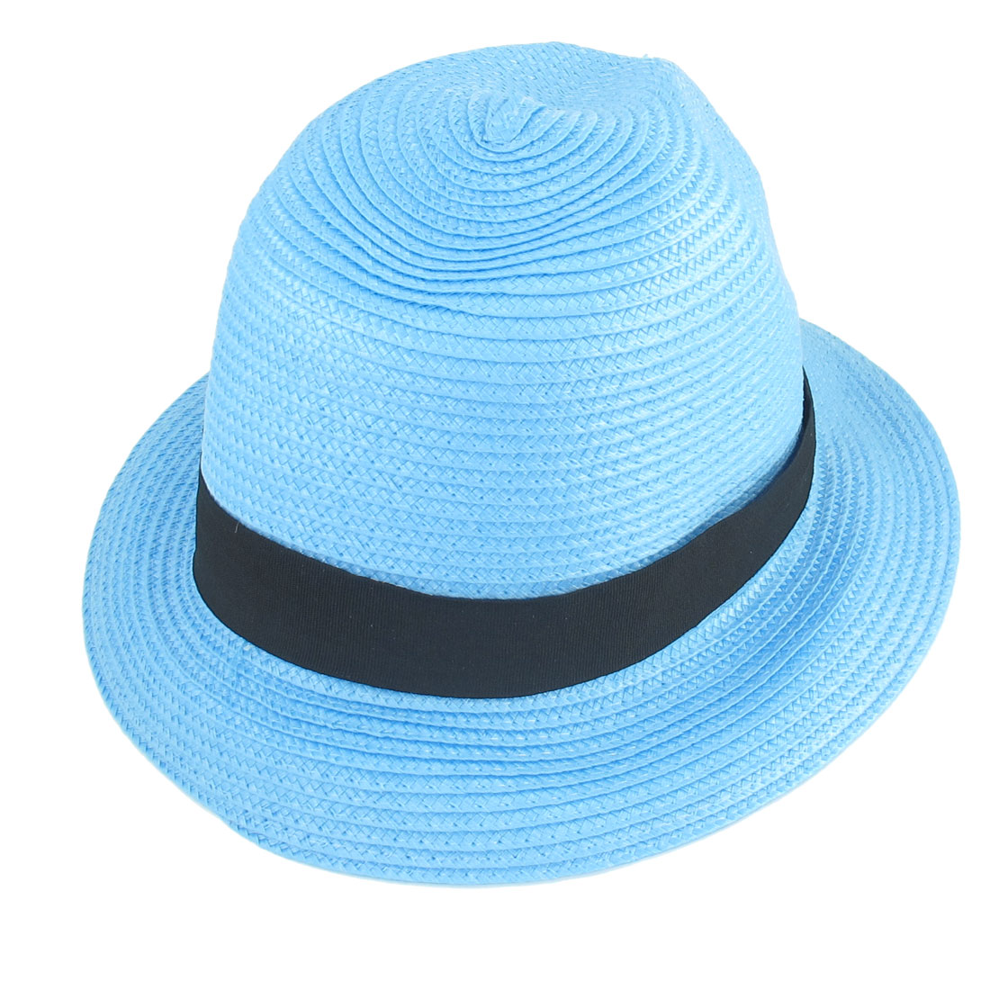 Woman Hiking Camping Strap Detailing Light Blue Tribly Hat Sun Visor