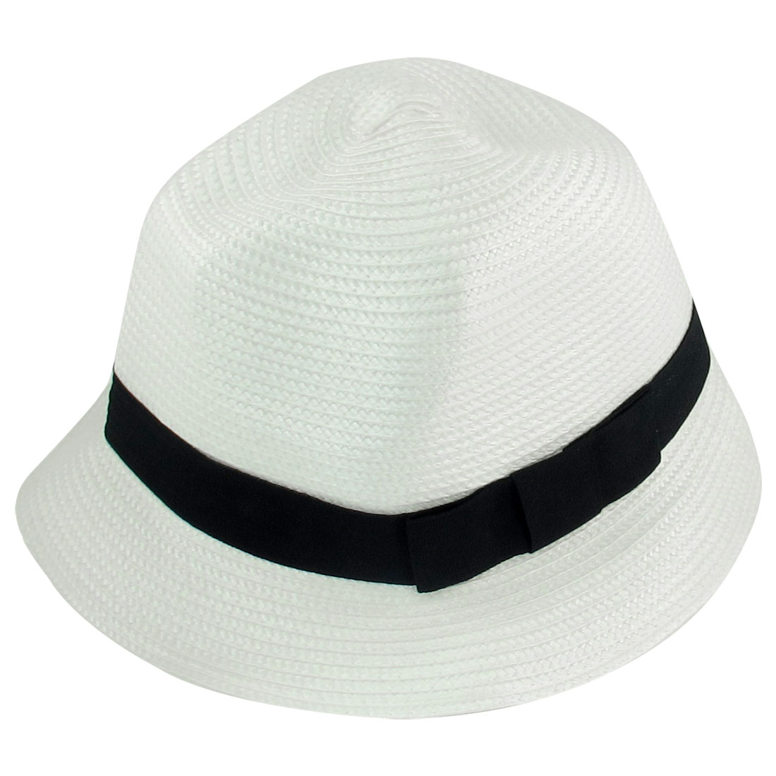Summer Outdoor Strap Decor White Nylon Braid Trilby Hat for Women