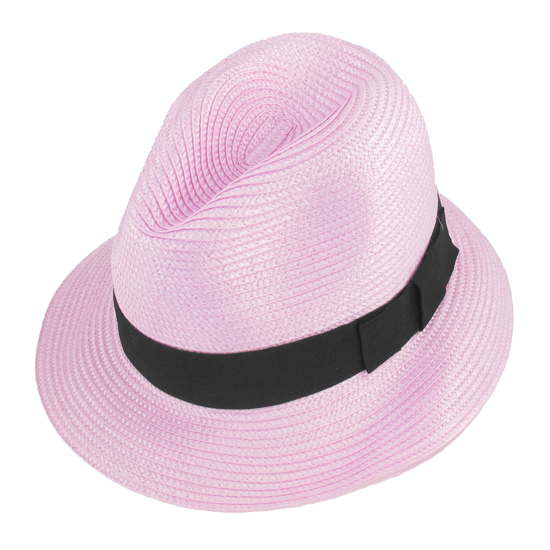 Summer Outdoor Strap Decor Light Pink Nylon Braid Trilby Hat for Women