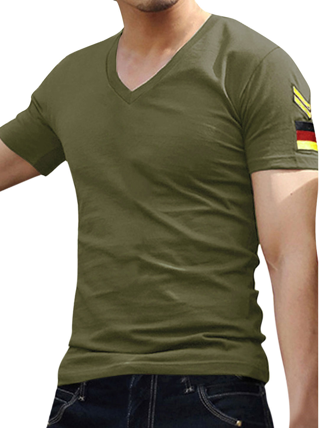 Men Olive Green Short Sleeve Badge Embroidery Slim Tee Shirt XL