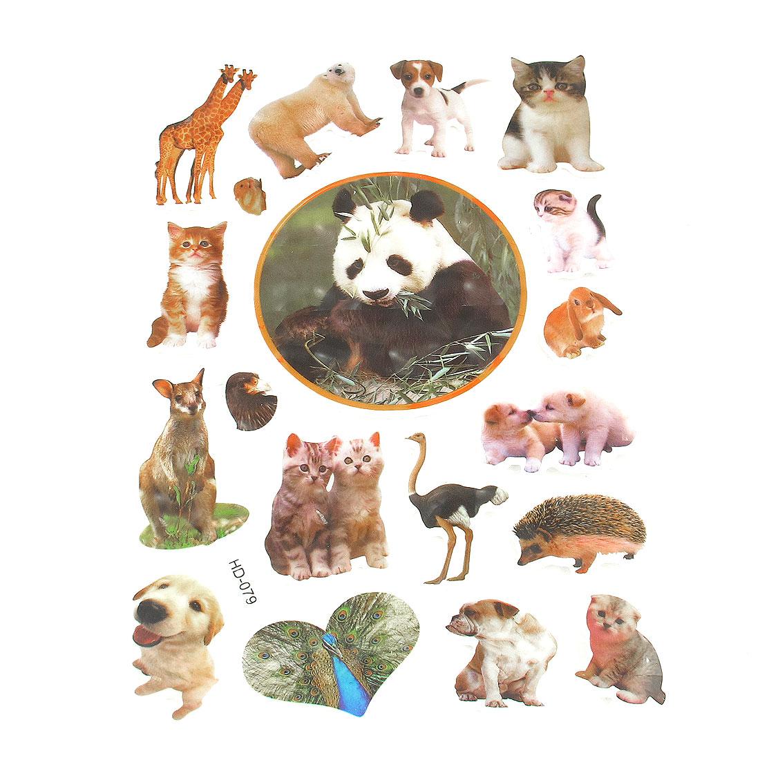 Multicolored Dogs Cats Giraffe Craft Scrapbook Stickers