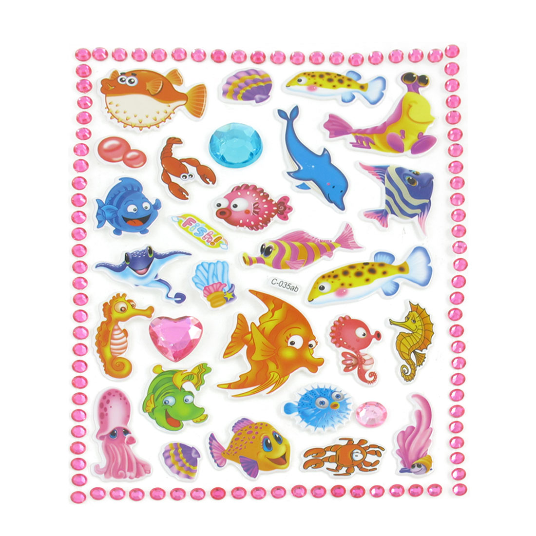 Kid Multicolored Fish Crab Dolphin Craft Scrapbook Stickers