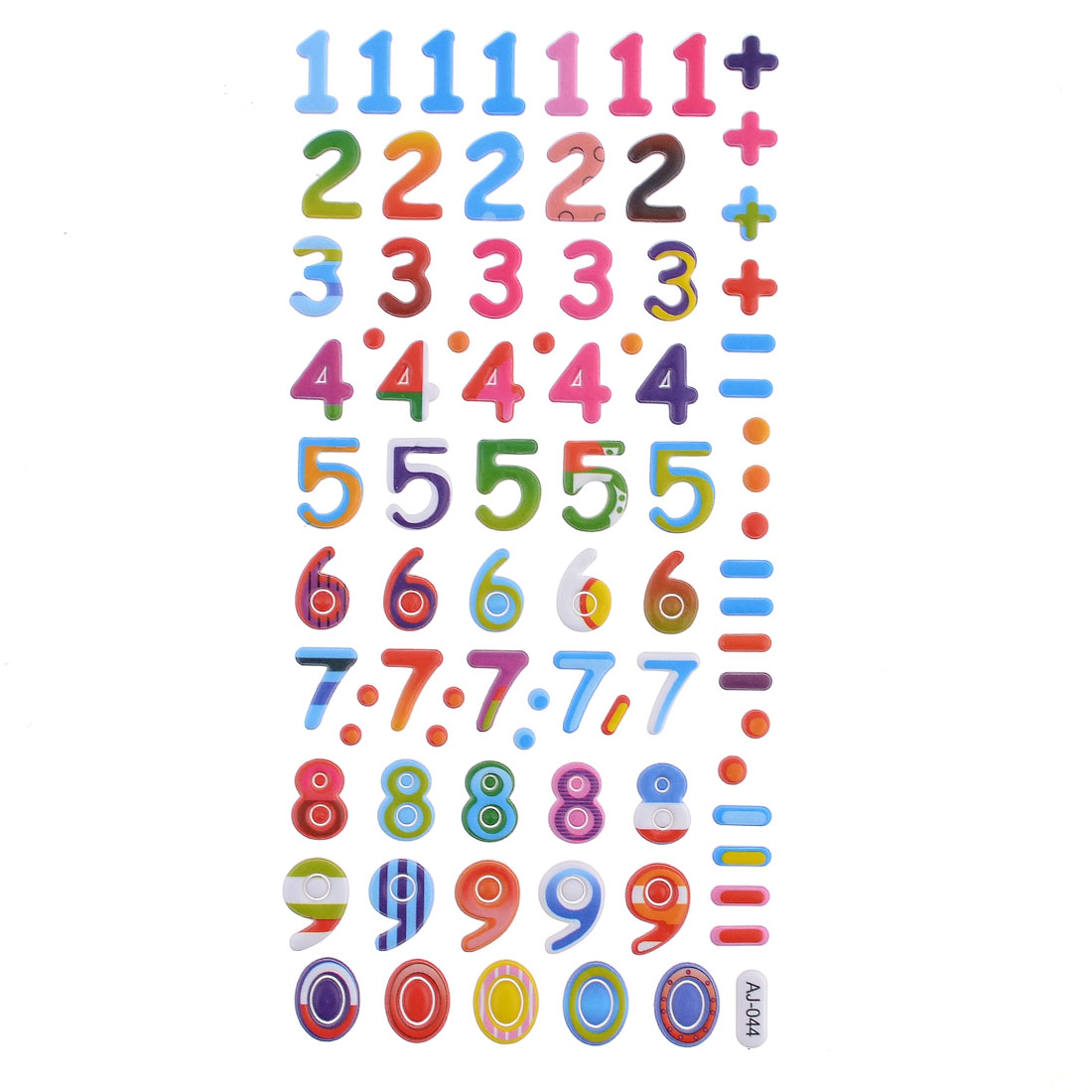 85 in 1 Sheet Colored 0-9 Number Design Glass Window Sticker Decals