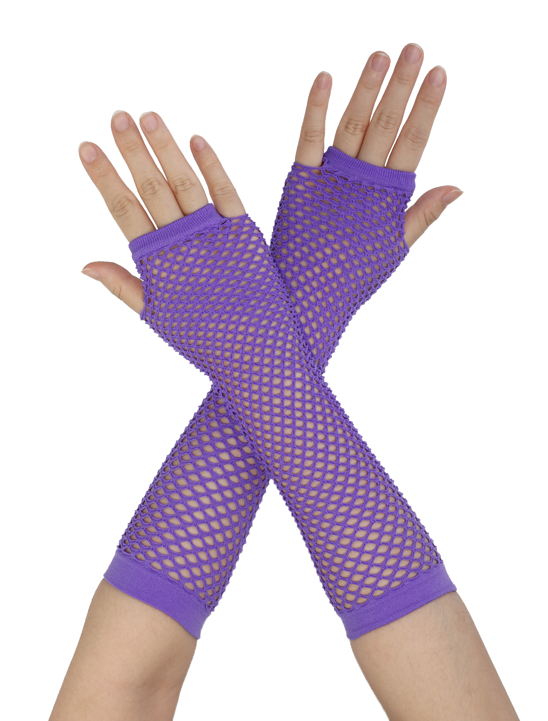 Pair Ladies Elastic Fishnet Fingerless Elbow Length Gloves Arm Warmers Lavender
