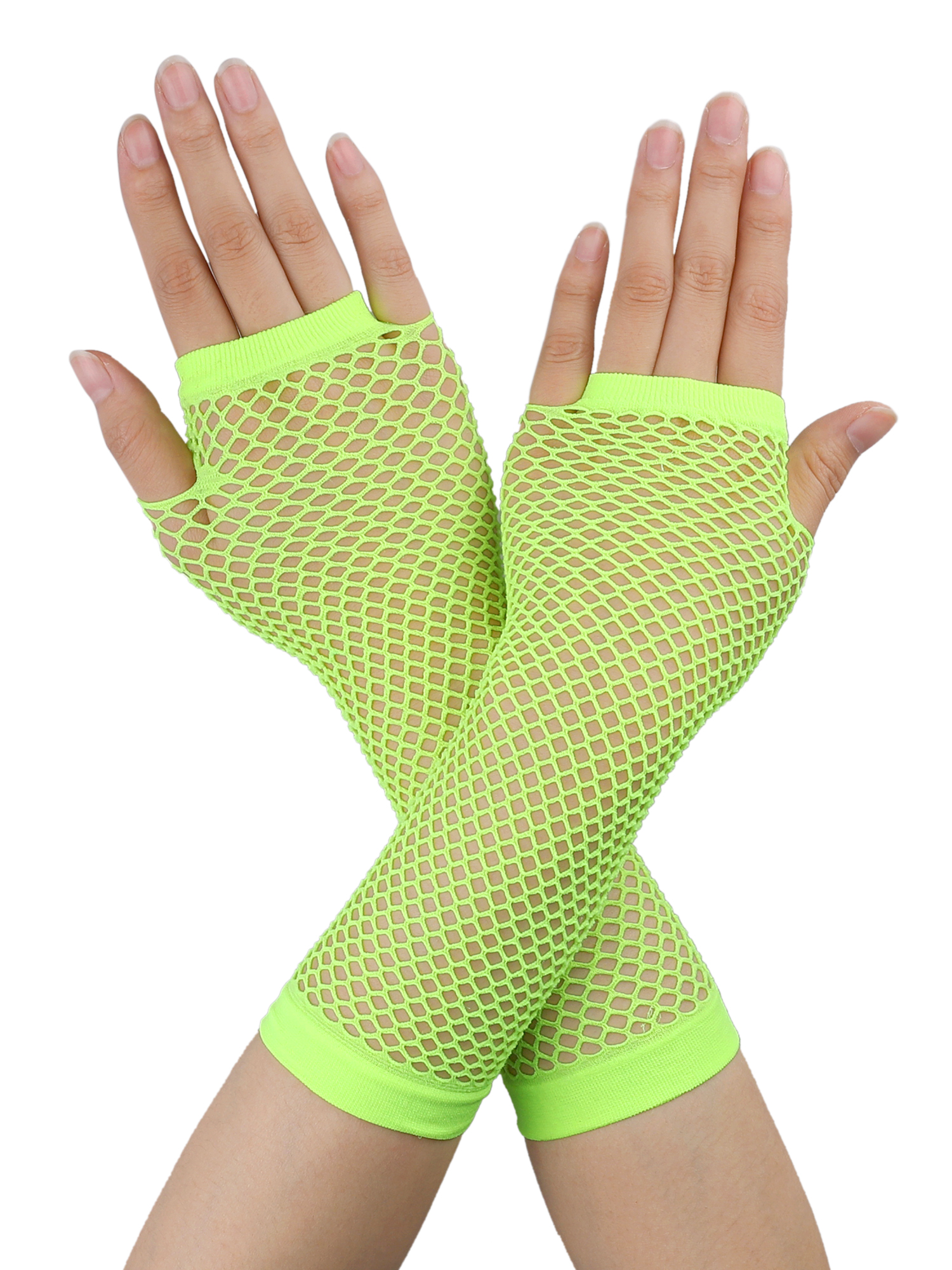 Pair Yellow Stretchy Mesh Fishnet Elbow Fingerless Goth Arm Warmers for Lady