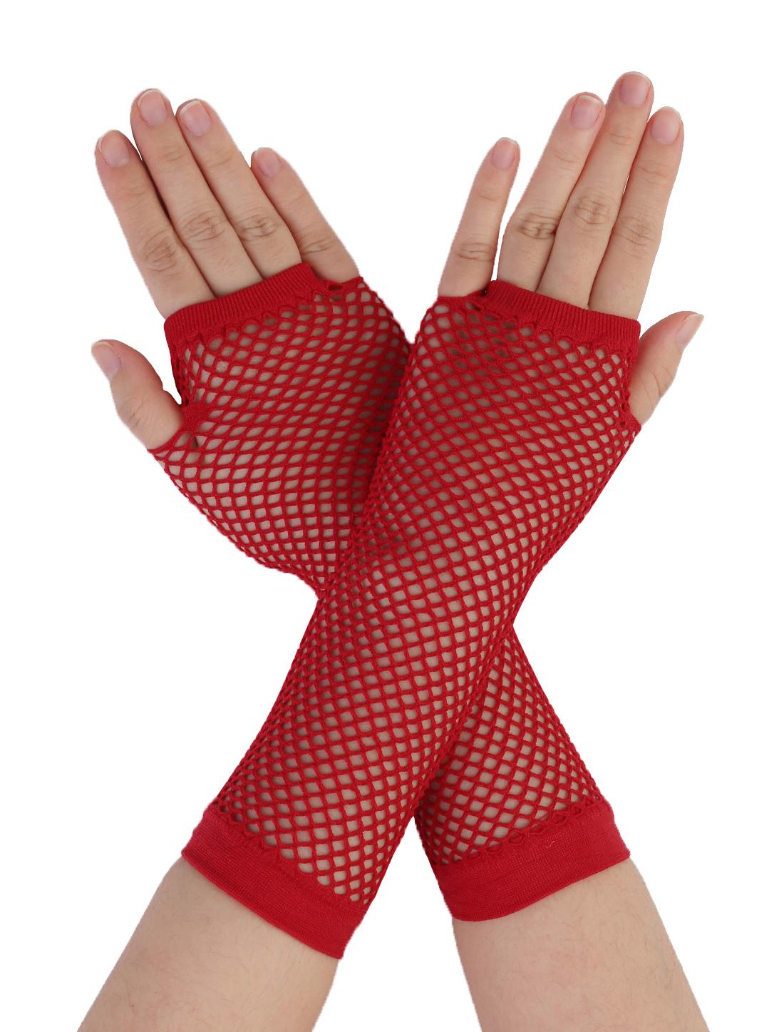 Pair Ladies Elastic Fishnet Fingerless Elbow Length Gloves Arm Warmers Red