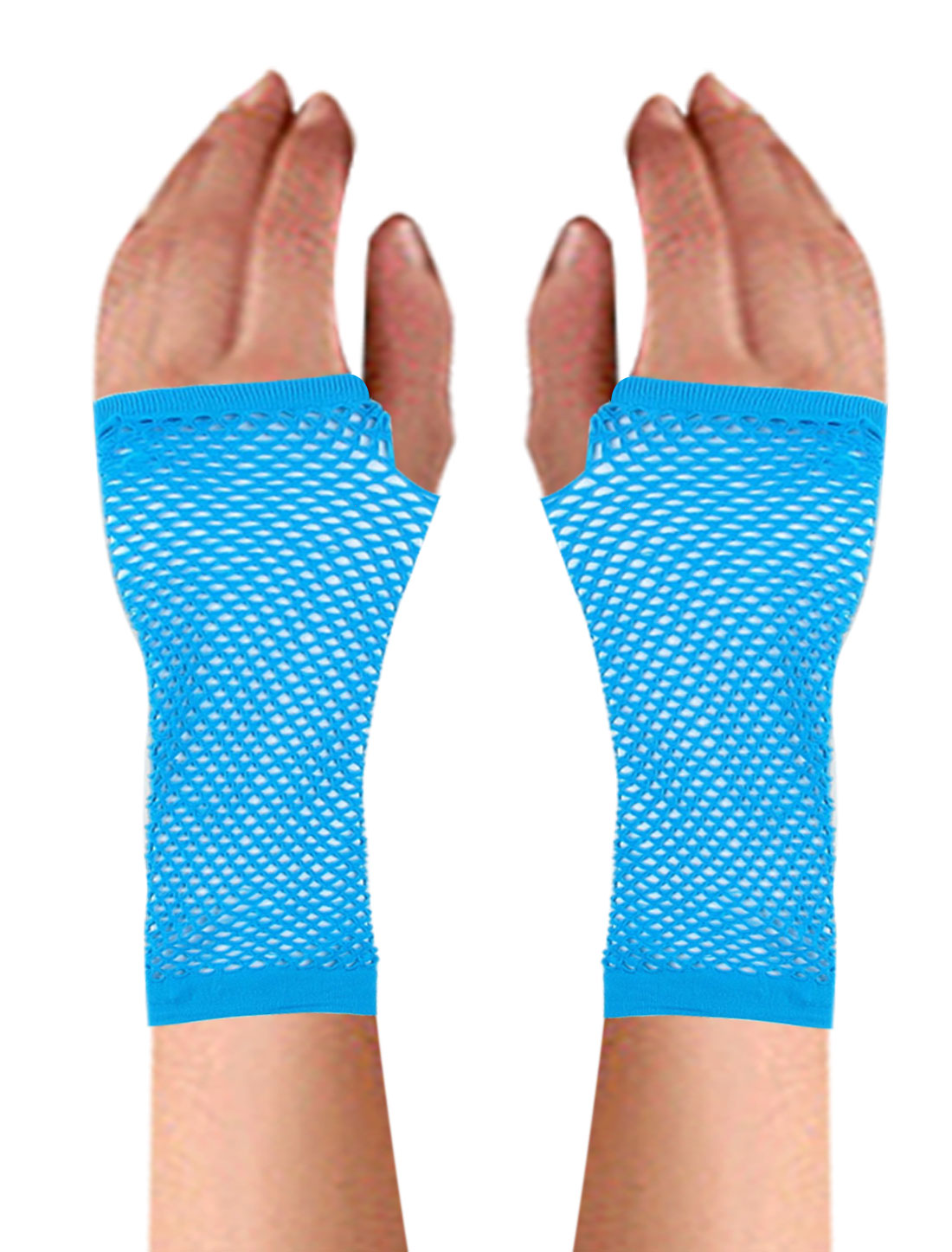 Pair Light Blue Stretchy Fishnet Elbow Fingerless Goth Arm Warmers for Lady