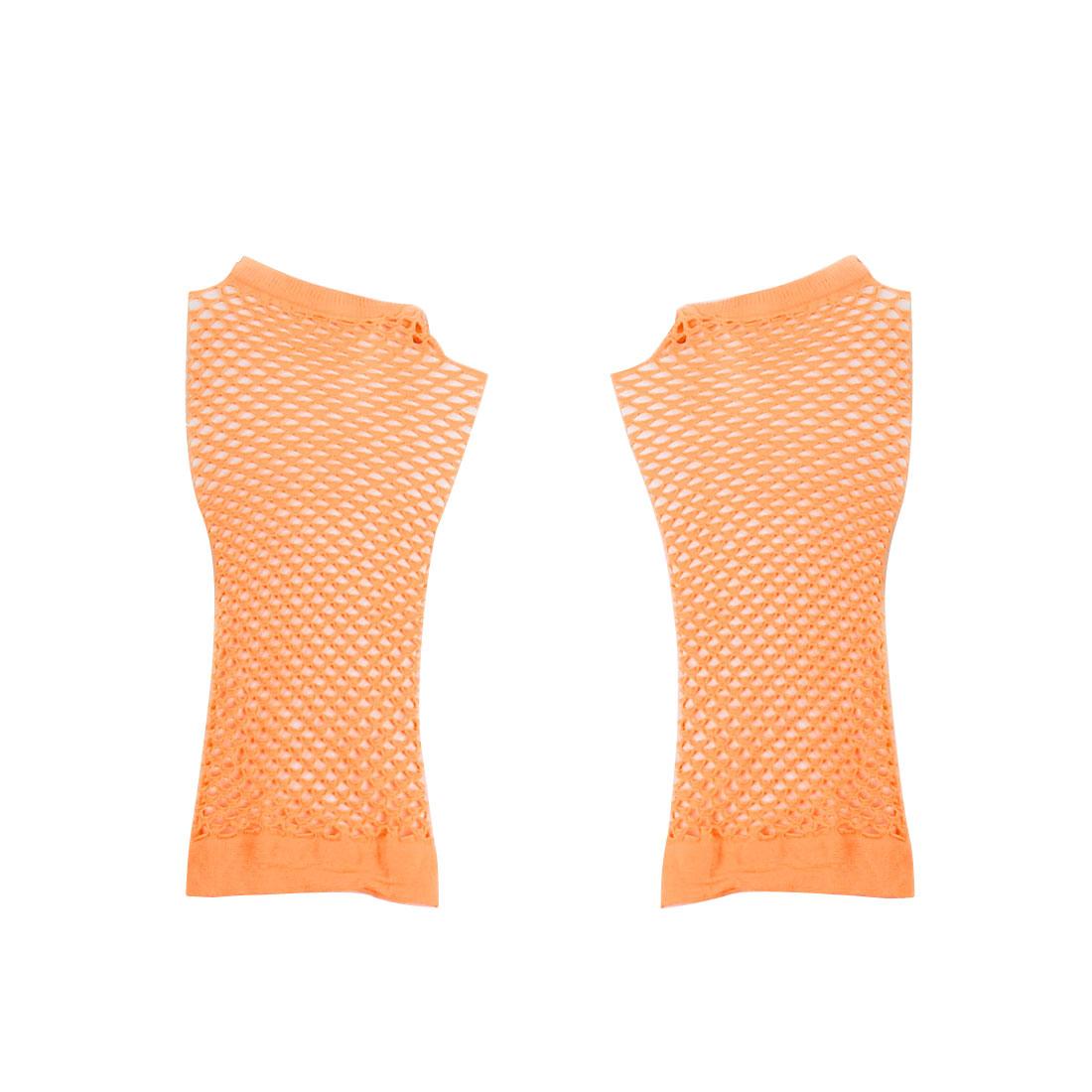 Pair Lady Elastic Fishnet Fingerless Elbow Length Gloves Arm Warmers Pale Orange