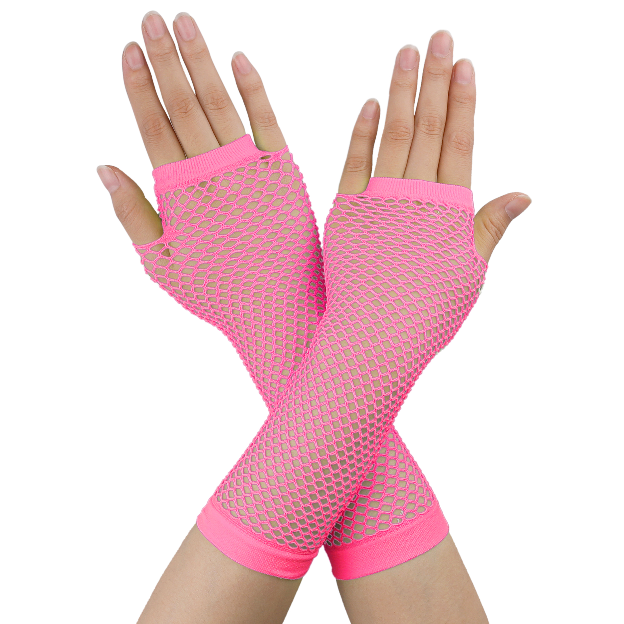 Pair Ladies Elastic Fishnet Fingerless Elbow Length Gloves Arm Warmers Pink