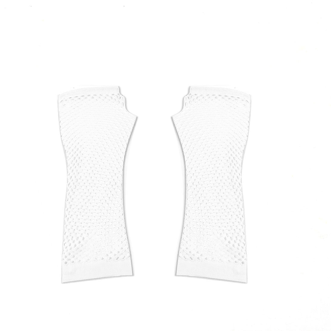 Pair White Stretchy Mesh Fishnet Elbow Fingerless Goth Arm Warmers for Lady