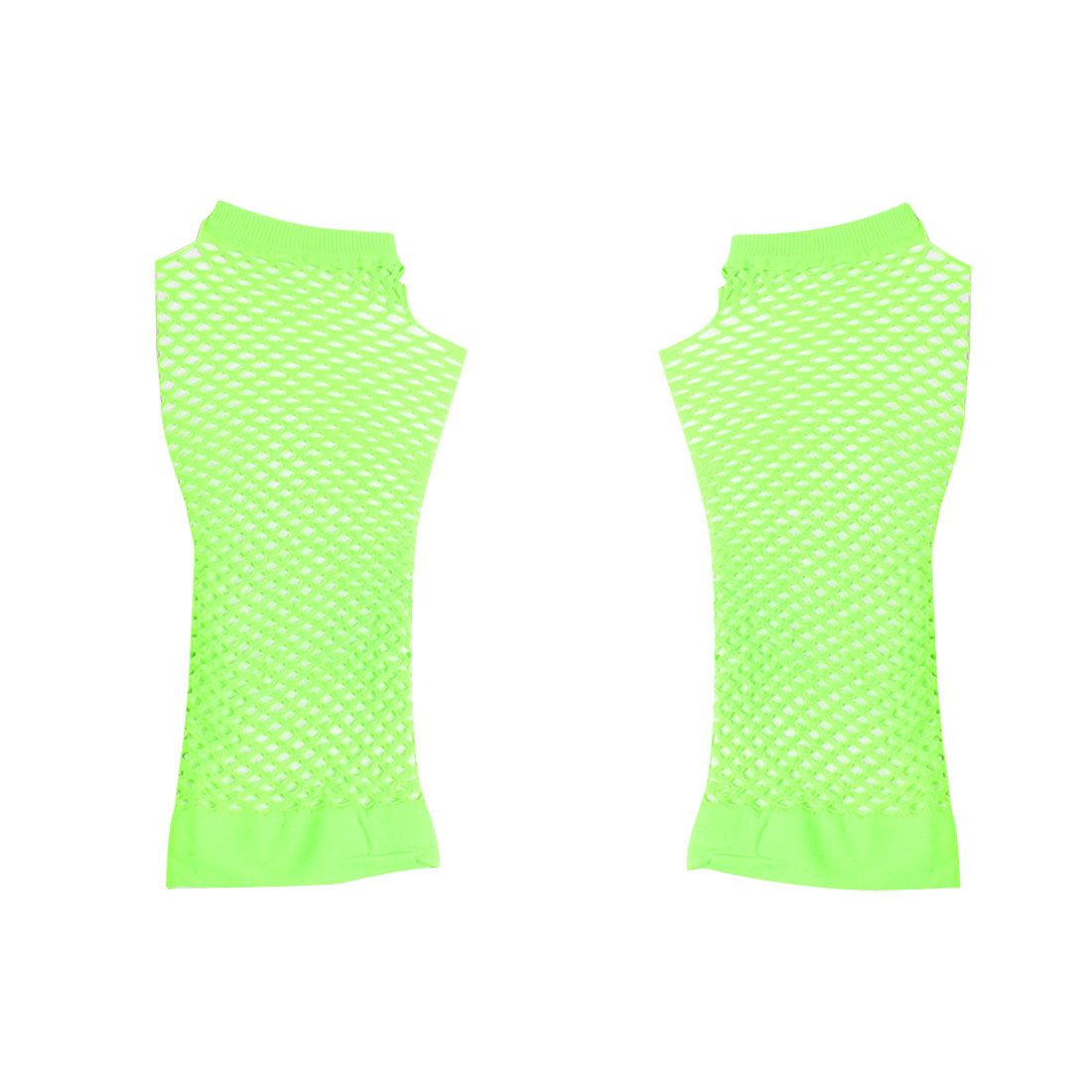 Pair Light Green Stretchy Fishnet Elbow Fingerless Goth Arm Warmers for Lady