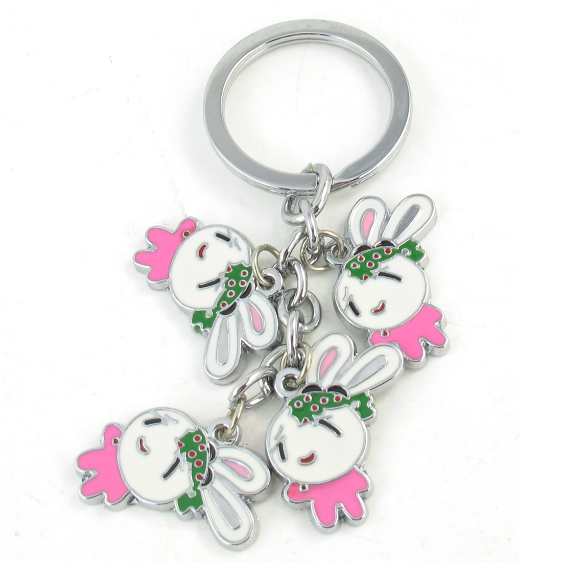 Pink White Rabbit Design Pendant Metal Keyring Key Chain Silver Tone