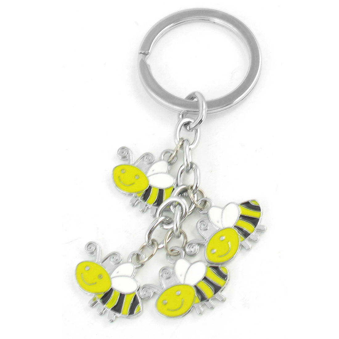 Portable Bee Design Pendant Keyring Keychain Silver Tone Yellow Black