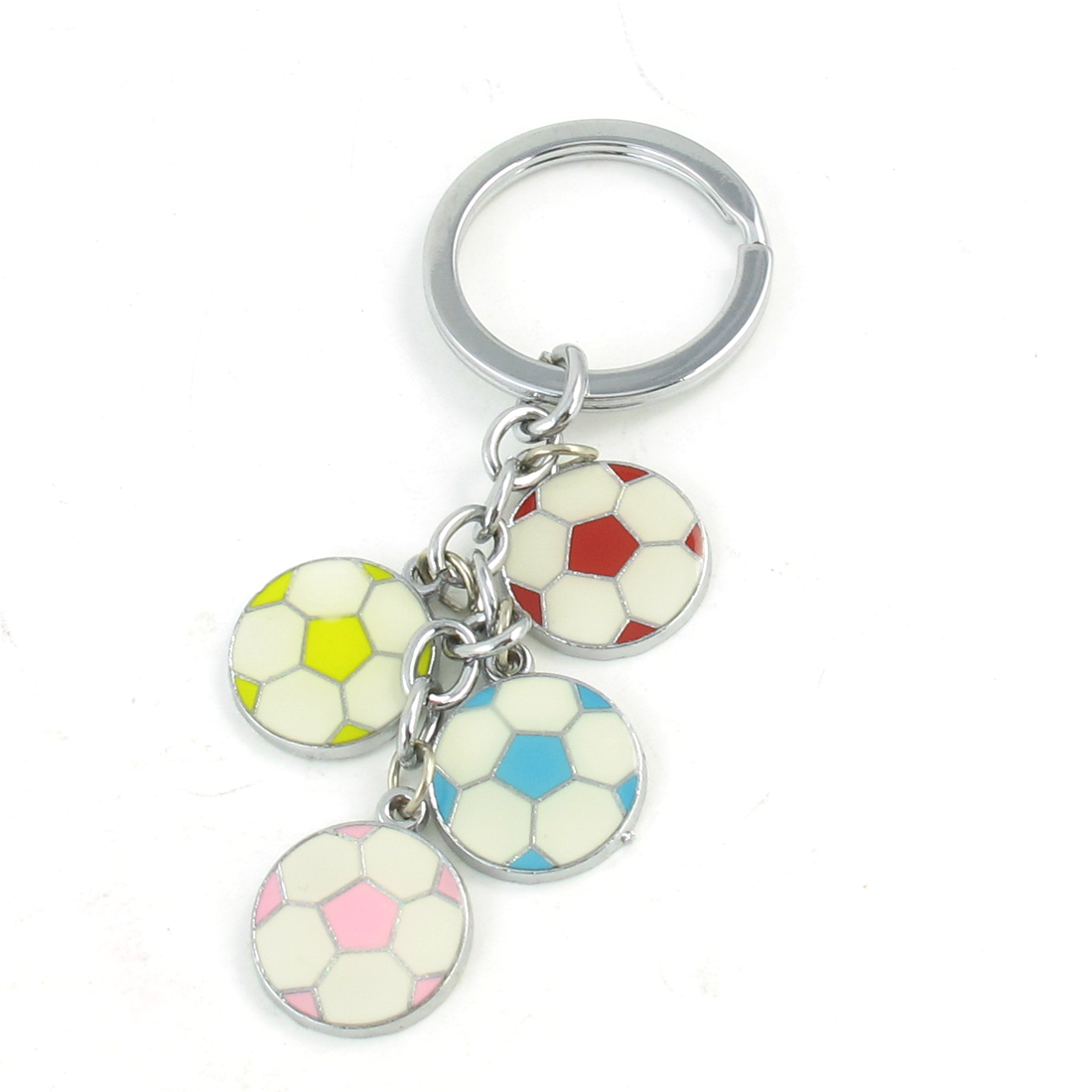 Portable Footable Design Pendant Keyring Keychain Silver Tone Red Yellow
