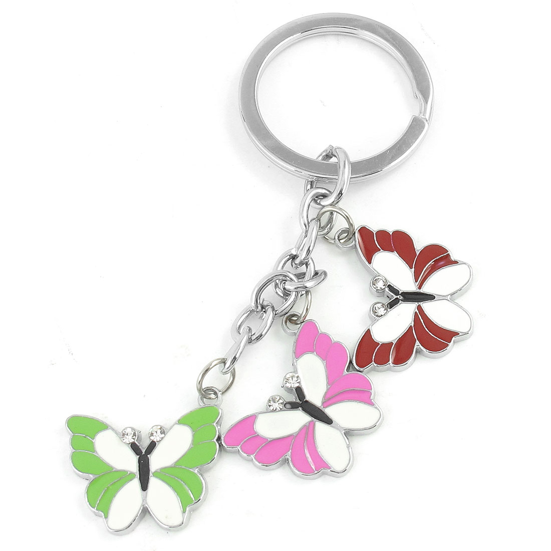Red Pink Butterfly Design Pendant Metal Keyring Key Chain Silver Tone