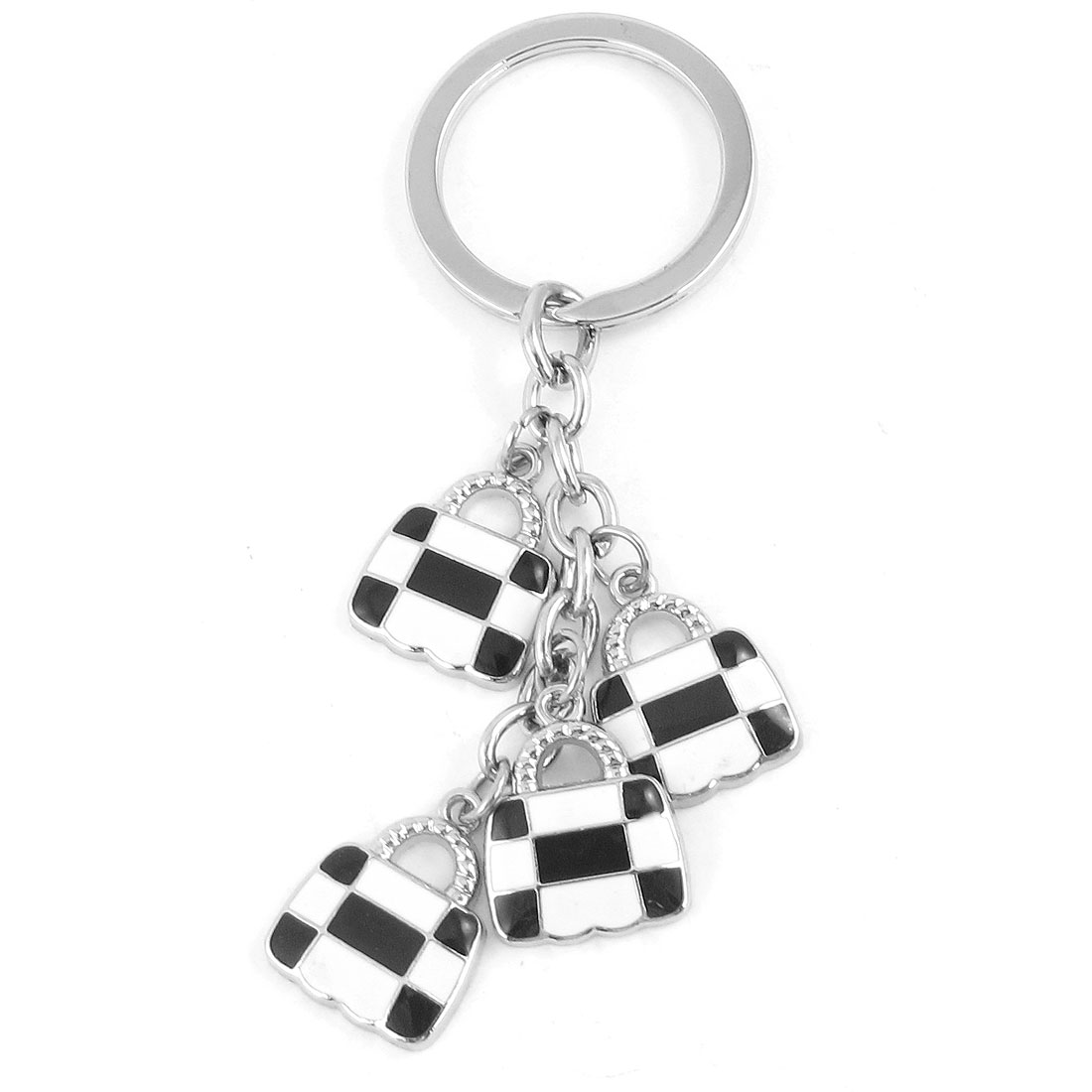 Portable White Black Lock Shaped Pendant Keyring Keychain Silver Tone