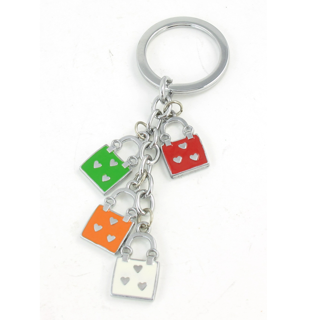 Padlock Design Pendant Metal Keyring Key Chain Silver Tone