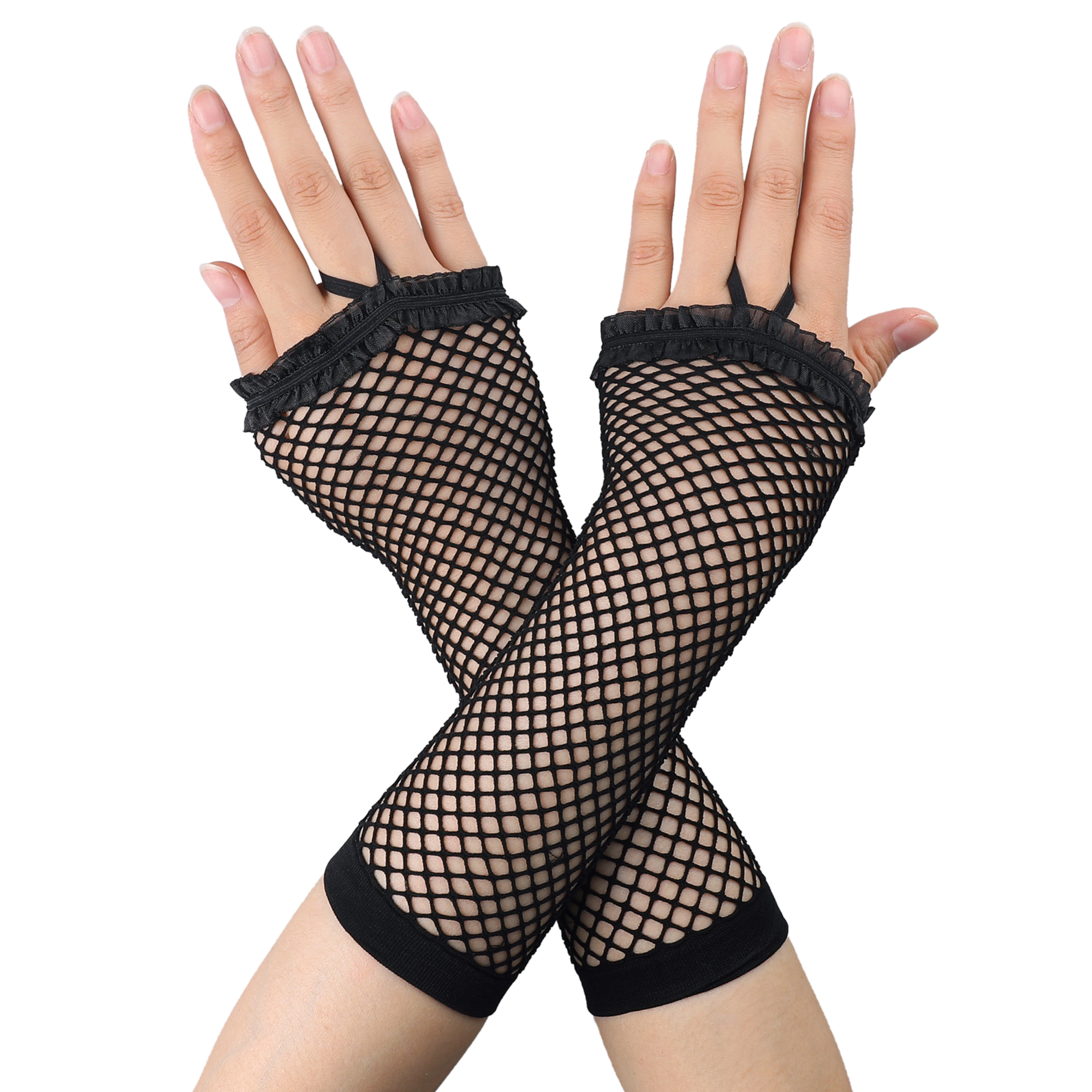 Pair Black Elastic Mesh Fish Net Elbow Fingerless Goth Arm Warmers for Women