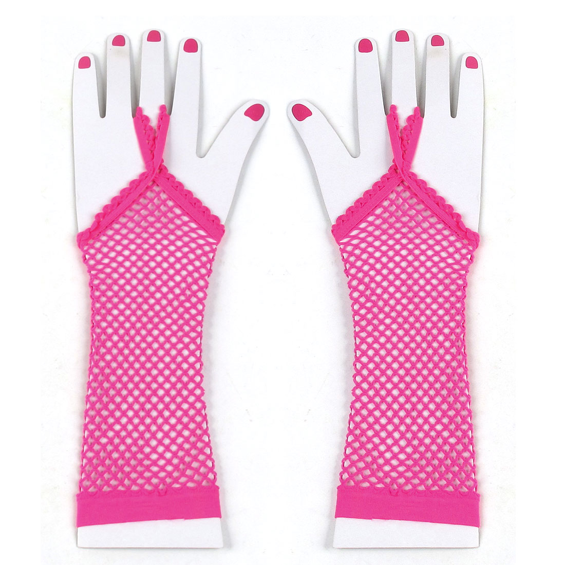 Pair Pink Elastic Mesh Fish Net Elbow Fingerless Goth Arm Warmers for Women