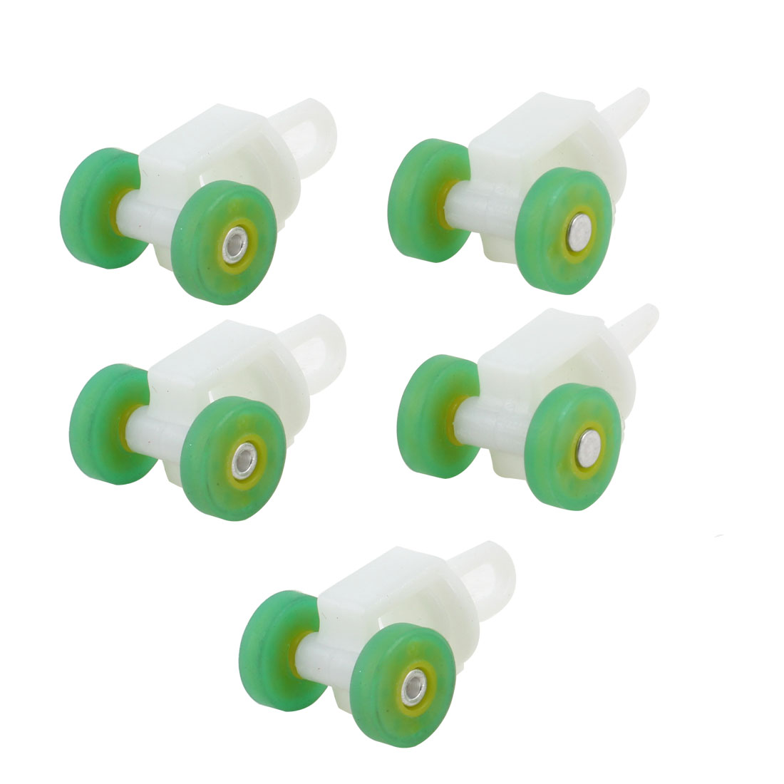 "5 Pcs 0.47"" Diameter Green Yellow Wheels White Plastic Curtain Track Rollers"