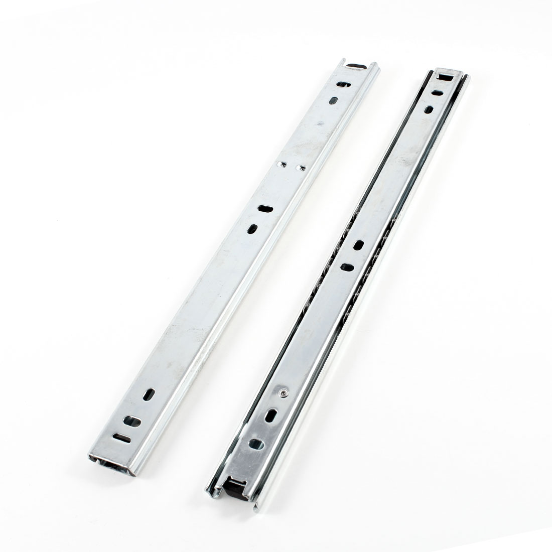 2 Pcs Aluminium Sliding Mount Drawer Guide Rails Silver Tone