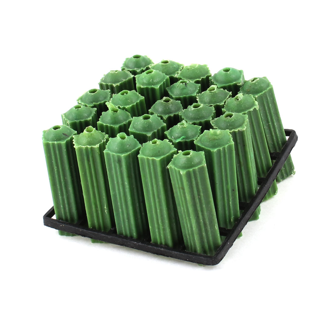 25 Pieces Masonry 8mm Green Plastic Nonslip Wall Plugs