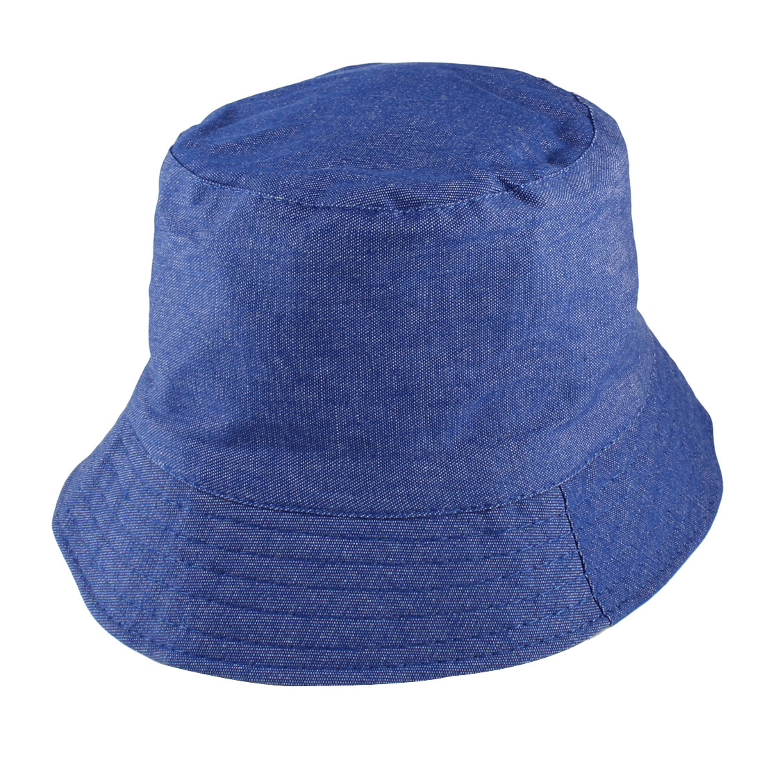 Nylon Wave Brim Bucket Style Sun Hat Cap Royal Blue for Old Man