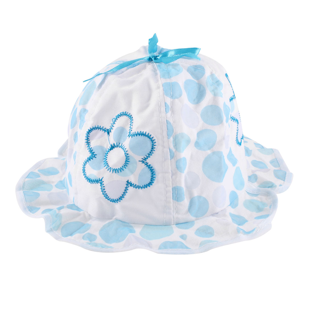 0-6 Months Baby Girl Dots Pattern Cotton Bob Hat Light Blue White w Stretchy Neck Strap