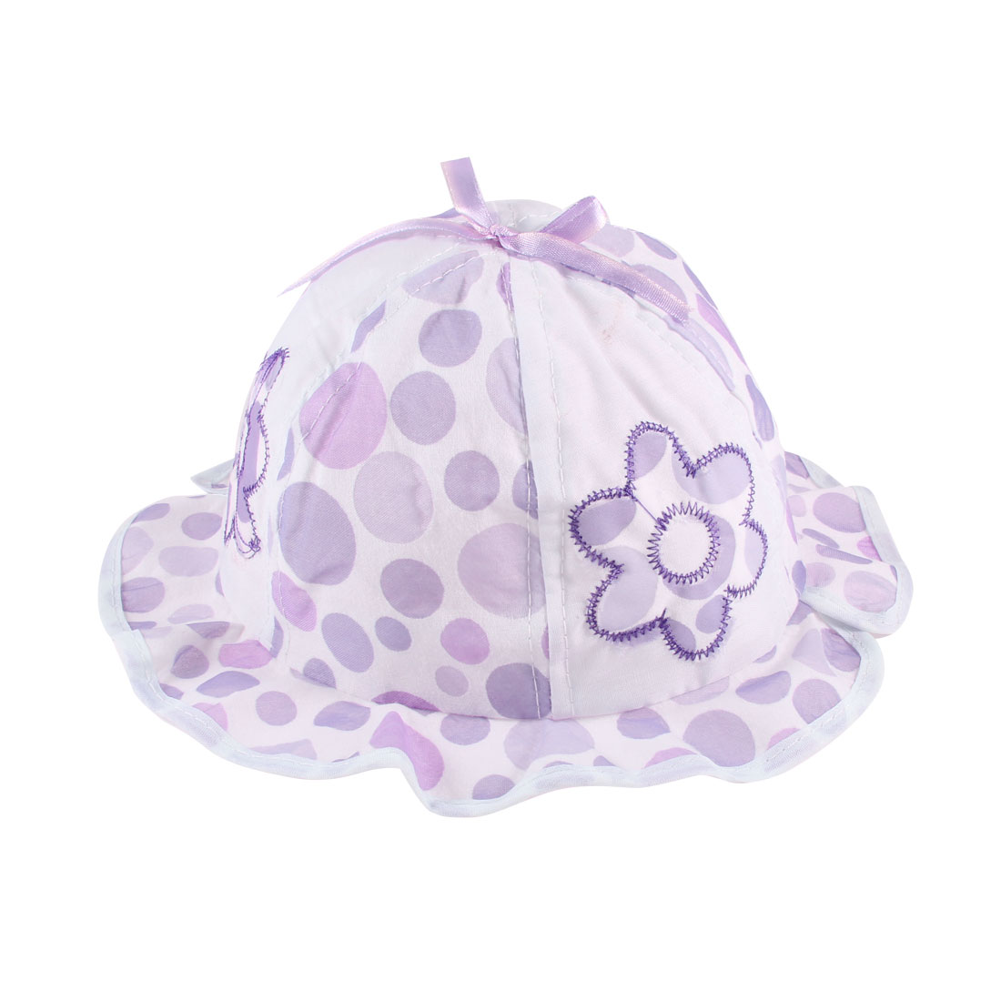Wavy Brim Design Bowknot Accent Bob Hat Cap Purple White for 0-6 Months Baby Girl