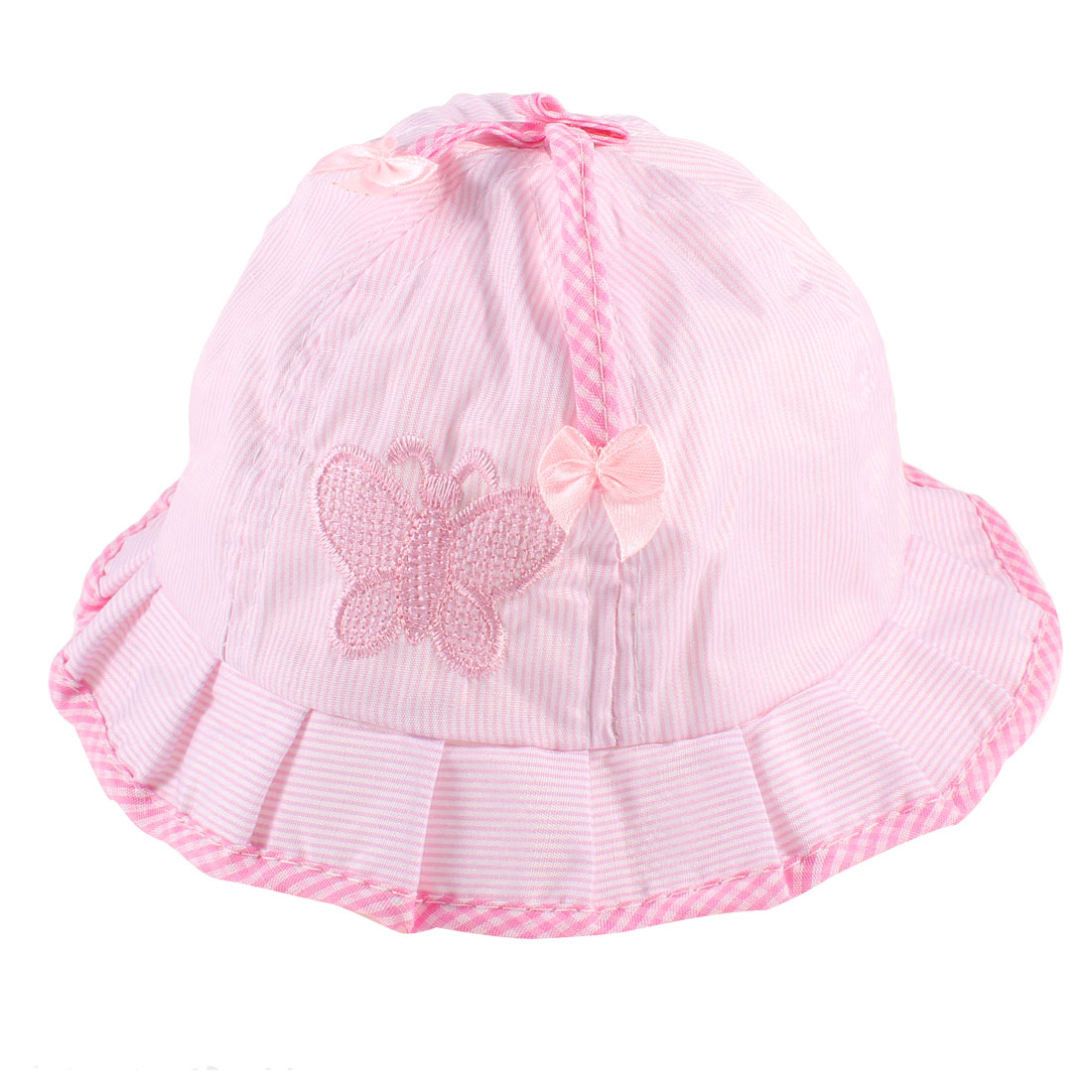 Stripes Printed Embroidered Butterfly Accent Bob Hat Red White for 0-6 Months Baby Girl