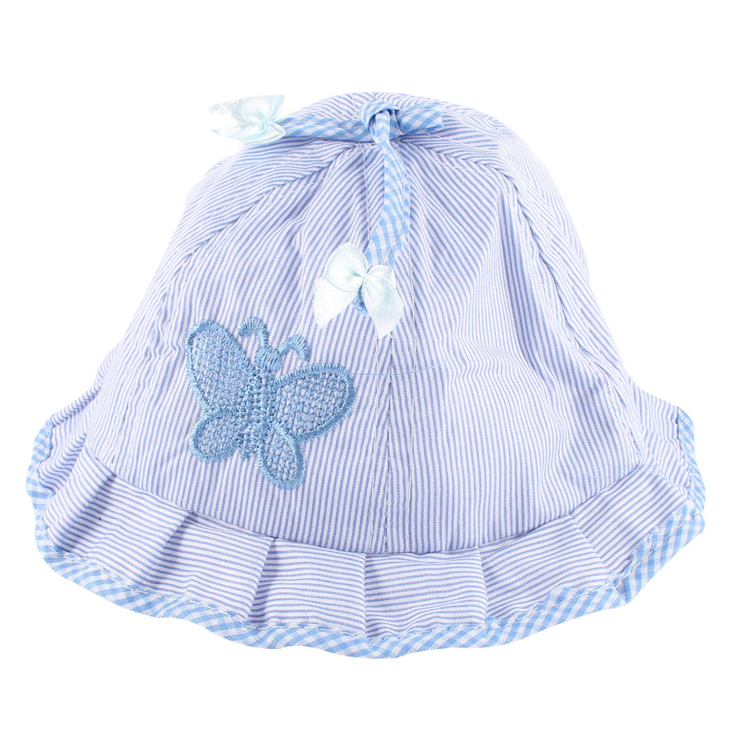 0-6 Months Baby Girl Butterfly Decor Wavy Brim Design Bob Hat Blue White w Neck Strap