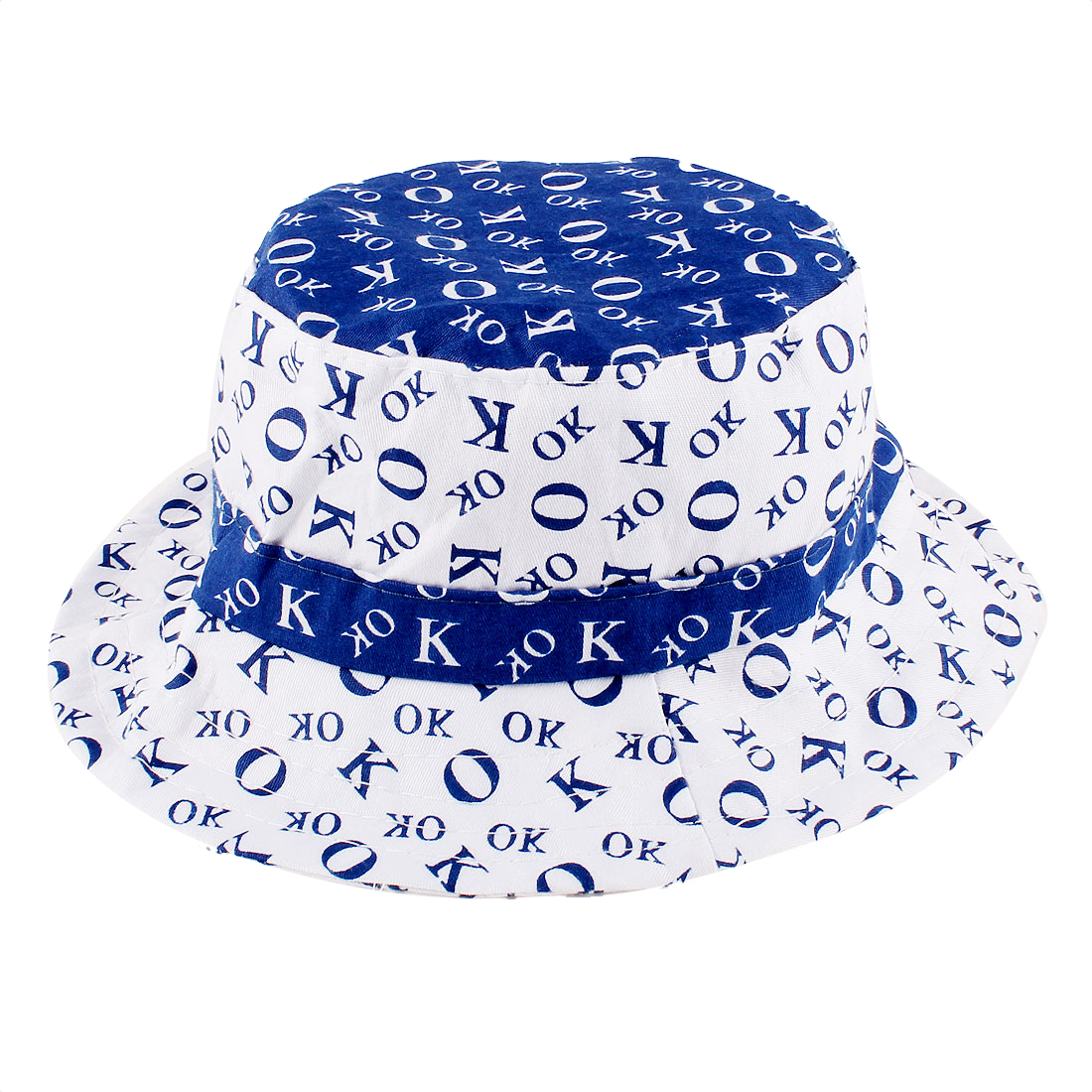 Portable Letters Pattern Bob Hat Cap Blue White for 0-6 Months Baby Girls