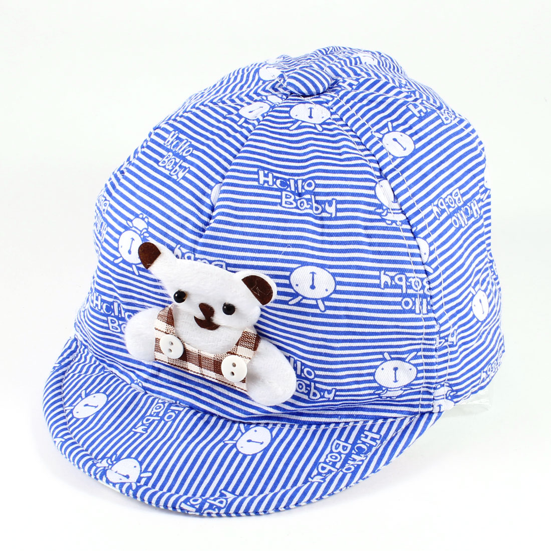 Sun Shading Bear Designed Stripes Baseball Cap Hat Blue White for 6-12 Months Kids